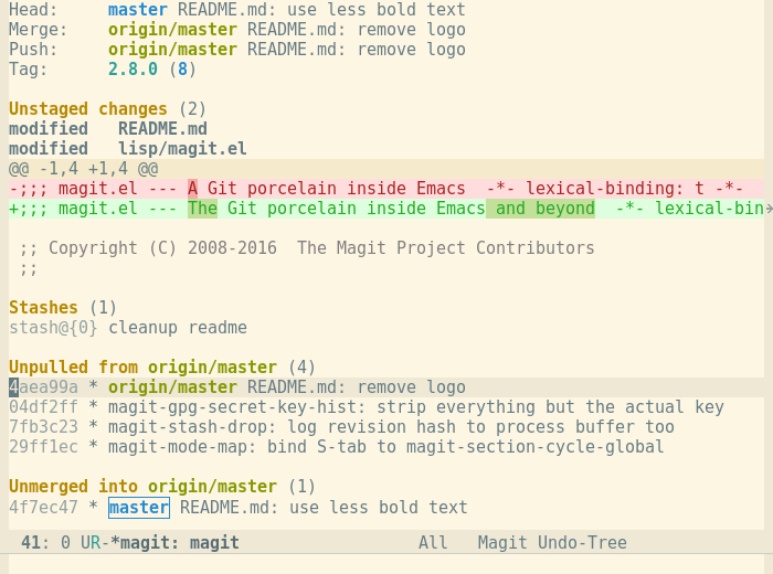 It's Magit! A Git Porcelain inside Emacs